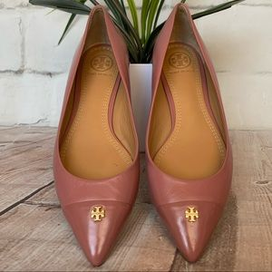 TORY BURCH Fairford Pink Glossy Leather Flats 5.5